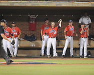 Mississippi's Miles Hamblin (24) hits a solo home run vs. St. John's during an NCAA Regional at Davenport Field in Charlottesville, Va. on Friday, June 4, 2010.
