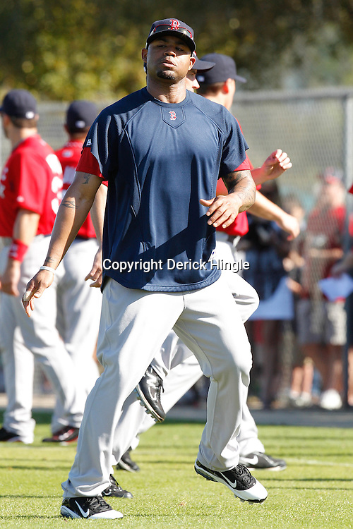 February 19, 2011; Fort Myers, FL, USA; Boston Red Sox left fielder Carl Crawford during spring training at the Player Development Complex.  Mandatory Credit: Derick E. Hingle