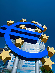 The Euro sign outside the European Central Bank (ECB) in Frankfurt am Main Hessen Germany