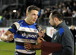 Bath Rugby's man of the match Sam Burgess speaks to the match day announcer after defeating Wasps in Aviva Premiership clash at the Recreation Ground - Photo mandatory by-line: Paul Knight/JMP - Mobile: 07966 386802 - 10/01/2015 - SPORT - Rugby - Bath - The Recreation Ground - Bath Rugby v Wasps - Aviva Premiership