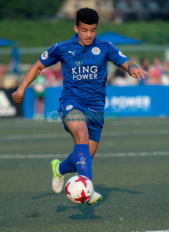 May 28, 2017 - Hong Kong, Hong Kong SAR, China - Joshua Gordon comes in to score Leicester city's first goal.Leicester City win their second HKFC Citi Soccer Sevens title following a 3-0 victory over defending champions Aston Villa in the final.2017 Hong Kong Soccer Sevens at the Hong Kong Football Club Causeway Bay. (Credit Image: © Jayne Russell via ZUMA Wire)