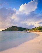 6211-1005B ~ Copyright: George H. H. Huey ~ Boat at anchor at Green Island, Nonsuch Bay. East coast of Island of Antigua. Leeward Islands, Lesser Antilles, Caribbean.