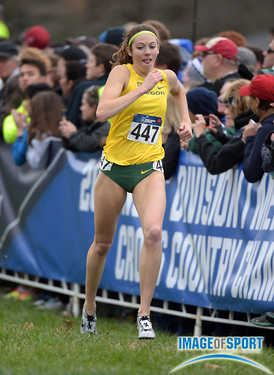 Nov 21, 2015; Louisville, KY, USA; Alli Cash of Oregon places 31st in 20:20 during the 2015 NCAA cross country championships at Tom Sawyer Park.