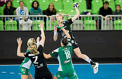 Susann Mueller of Krim during handball match between RK Krim Mercator and Gyori Audi ETO KC (HUN) in 3rd Round of Group B of EHF Women's Champions League 2012/13 on October 28, 2012 in Arena Stozice, Ljubljana, Slovenia. Gyori defeated Krim Mercator 31-20. (Photo By Vid Ponikvar / Sportida)