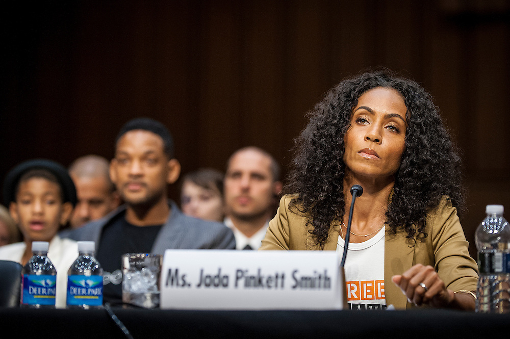 "JADA PINKETT SMITH, actress and advocate for Don't Sell Bodies, testifies before the Senate Foreign Relations Committee about ""The Next Ten Years in the Fight Against Human Trafficking: Attacking the Problem with the Right Tools"" on Capitol Hill on Tuesday."
