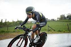 Aafke Soet takes to the course in the worst of the conditions at the Prologue of Festival Elsy Jacobs 2017. A 2.8 km individual time trial on April 28th 2017, in Cessange, Luxembourg. (Photo by Sean Robinson/Velofocus)