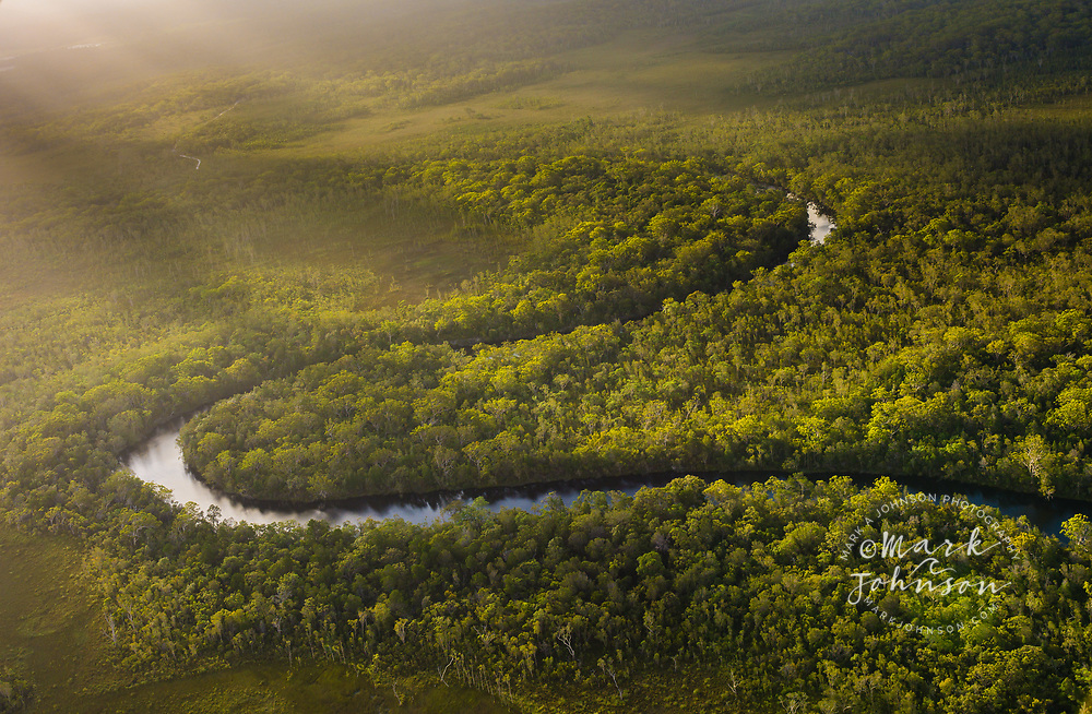 Aerial photograph of the Noosa River in the late afternoon, Great Sandy National Park, Sunshine Coast, Queensland, Australia