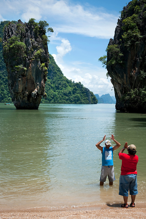 Ko Tapu and Nail Island commonly known as 'James Bond Islands', in Phang Nga Bay, Phuket, Thailand.