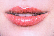 mouth with lipstick close up from halftone print