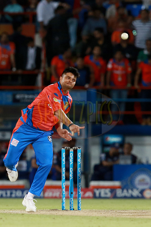 Suresh Raina  captain of GL bowls during match 35 of the Vivo 2017 Indian Premier League between the Gujarat Lions and the Mumbai Indians  held at the Saurashtra Cricket Association Stadium in Rajkot, India on the 29th April 2017<br /> <br /> Photo by Rahul Gulati - Sportzpics - IPL