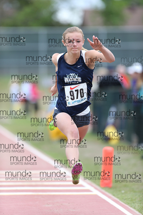 Taylor McLean of John F. Ross CVI - Guelph competes in the midget girls triple jump at the 2013 OFSAA Track and Field Championship in Oshawa Ontario, Thursday,  June 6, 2013.<br /> Mundo Sport Images / Sean Burges