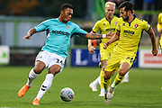 Forest Green Rovers Tahvon Campbell(14) takes on Cheltenham Town's Chris Clements(26) during the EFL Trophy match between Forest Green Rovers and Cheltenham Town at the New Lawn, Forest Green, United Kingdom on 4 September 2018.