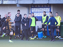 Alloa Athletic's manager Barry Smith and Hearts Head Coach Robbie Neilson at the end.<br /> Alloa Athletic 0 v 1 Hearts, Scottish Championship played at Recreation Park, Alloa.
