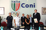 DESCRIZIONE : Roma Coni Conferenza Stampa Nazionale Italia Under 18 Maschile Basket On Board sulla portaerei Cavour<br /> GIOCATORE : Andrea Capobianco De Giorgi Petrucci Rava Meneghin Dan Peterson<br /> CATEGORIA : curiosita ritratto<br /> SQUADRA : Fip <br /> EVENTO : Conferenza Stampa Nazionale Italia Under 18<br /> GARA : <br /> DATA : 09/07/2012 <br />  SPORT : Pallacanestro<br />  AUTORE : Agenzia Ciamillo-Castoria/GiulioCiamillo<br />  Galleria : FIP Nazionali 2012<br />  Fotonotizia : Roma Coni Conferenza Stampa Nazionale Italia Under 18 Maschile Basket On Board sulla portaerei Cavour<br />  Predefinita :