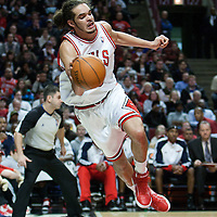 19 December 2009: Chicago Bulls center Joakim Noah saves the ball during the Chicago Bulls 101-98 victory in overtime over the Atlanta Hawks at the United Center, in Chicago, Illinois, USA.
