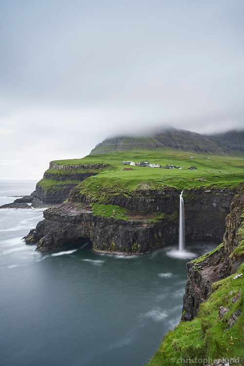 Gásadalur and Mulafossur waterfall. Gásadalur is located on the west-side of Vágar, Faroe Islands.