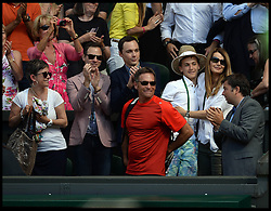 Image ©Licensed to i-Images Picture Agency. 03/07/2014. London, United Kingdom. Julie Leclair and and her son William Bouchard (far right) in the players box as the Eugenie Bouchard family celebrate in players box after Eugenie Bouchard beats Simona Halep in the ladies' Semi Final at Wimbledon. Picture by Andrew Parsons / i-Images