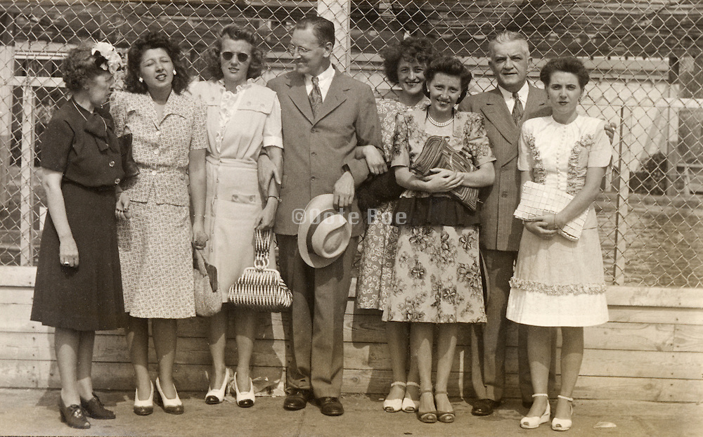Co workers on a day out together, 1940?Äôs