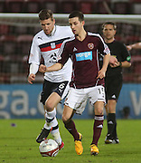 Hearts' Jason Holt  and Dundee's Iain Davidson  - Hearts v Dundee in the Clydesdale Bank, Scottish Premier League at Tynecastle.. - © David Young - www.davidyoungphoto.co.uk - email: davidyoungphoto@gmail.com