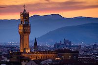 FLORENCE, ITALY - CIRCA MAY 2015:  Palazzo Vecchio at dusk as seen from Piazza Michelangelo