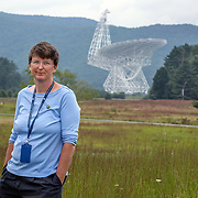 August 10, 2015, Green Bank, West Virginia: Dr. Karen O'Neil is the Green Bank Site Director for the National Radio Astronomy Observatory in Green Bank, West Virginia, which operates the world premiere astronomical telescope operating from centimeter to millimeter wavelengths.  The telescope sits near the heart of the United States National Radio Quiet Zone, a large area where all radio transmissions are limited to avoid emissions toward the GBT and the Sugar Grove Research Facility, West Virginia. The existence of the telescope within the Radio Quiet Zone allows for the detection of faint radio-frequency signals which otherwise would be eclipsed by man-made signals. The observatory borders the National Forest and is shielded from radio interference by the Allegheny Mountains. Photo by Evelyn Hockstein