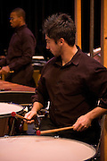 Working the timpani drums during Rowan University's presentation of The Percussion Ensemble and Marimba Band.