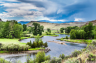 The Big Hole River  majesty.    A passing thunderstorm decorates the sky above this fly-fisher's dream in Southwestern Montana. Look at the thunderhead, it looks like a giant raptor flying over the river. <br />