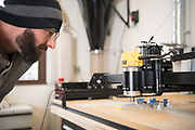 Adam Davis manufactures part of a robot at the Idea Lab in Zanesville. Photo by Ben Siegel