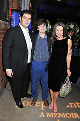Left to right, ZAFAR RUSHDIE, MILAN RUSHDIE and ELIZABETH WEST  at a party to celebrate the publication of Joseph Anton by Sir Salman Rushdie held at The Collection, 264 Brompton Road, London SW3 on 14th September 2012.