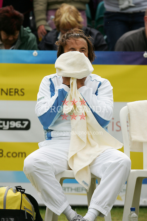 LIVERPOOL, ENGLAND - SUNDAY, JUNE 12th, 2005: Henri Leconte in action during an Exhibition match of the Liverbird Developments Liverpool International Tennis Tournament in Calderstones Park. (Pic by David Rawcliffe/Propaganda)