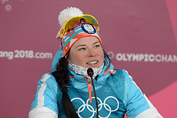 February 25, 2018 - Pyeongchang, South Korea - KRISTA PARMAKOSKI of Finland chats with the media following  the Ladies' 30km Mass Start Classic cross-country ski racing event in the PyeongChang Olympic Games. (Credit Image: © Christopher Levy via ZUMA Wire)