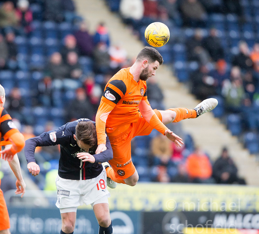 Dundee United's Mark Durnan over Falkirk's Lee Miller. Falkirk 3 v 0 Dundee United, Scottish Championship game played 11/2/2017 at The Falkirk Stadium.