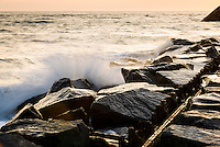 Rock jetty at Sunset Beach, Cape May, NJ.