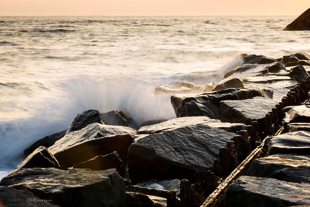 Rock jetty at Sunset Beach, Cape May, NJ.