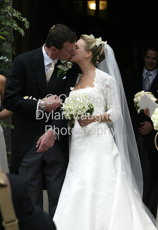 24/8/2002.David Watchman and Katie Watchman (Magnier) pictured after they were married at the Augustinian Abbey in Fethard County Tipperary yesterday..Picture Dylan Vaughan