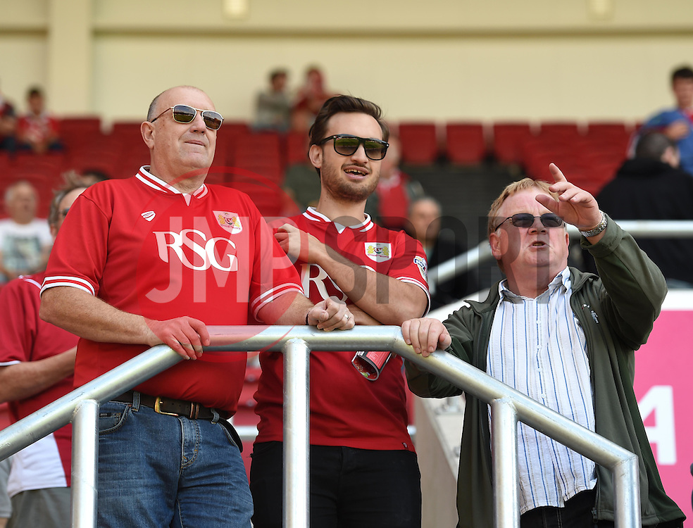 Bristol City supporters admiring the view from the South Stand at Ashton Gate - Mandatory by-line: Paul Knight/JMP - Mobile: 07966 386802 - 15/08/2015 -  FOOTBALL - Ashton Gate Stadium - Bristol, England -  Bristol City v Brentford - Sky Bet Championship