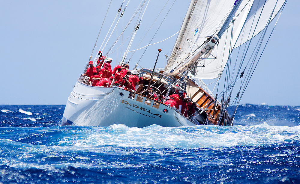 The schooner yacht Adela charges around the race course at the 2008 Antigua Classic Yacht Regatta. The race is one of the worlds most prestigious traditional yacht races.
