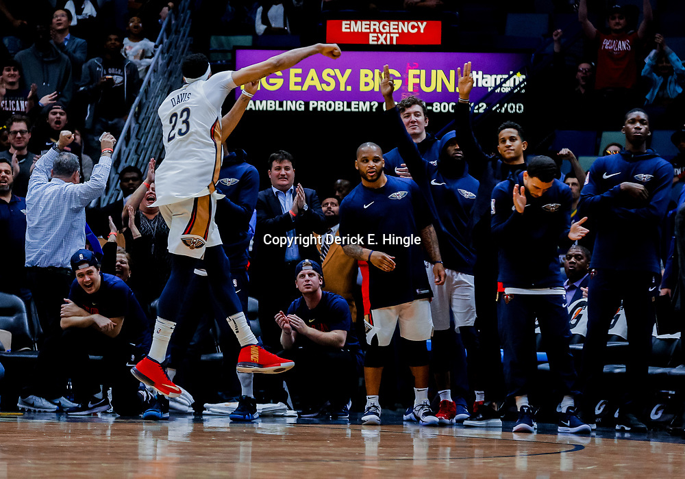 Jan 22, 2018; New Orleans, LA, USA; New Orleans Pelicans forward Anthony Davis (23) celebrates from the bench after a basket during double overtime against the Chicago Bulls at the Smoothie King Center. The Pelicans defeated the Bulls 132-128 in double overtime. Mandatory Credit: Derick E. Hingle-USA TODAY Sports