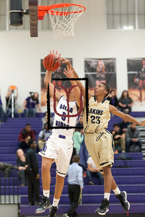 Akins' Cameron Ivey attempts to block an Ashton Whitt shot at Cedar Ridge Tuesday.  The Raiders edged the Eagles 60-58.  (LOURDES M SHOAF for Round Rock Leader.)