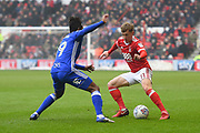 Nottingham Forest midfielder Ben Osborn (11) battles with Birmingham City midfielder Jacques Maghoma (19) during the EFL Sky Bet Championship match between Nottingham Forest and Birmingham City at the City Ground, Nottingham, England on 3 March 2018. Picture by Jon Hobley.