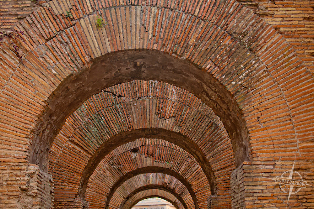 Archways along the Via Nova on the Palatine Hill in Rome, Italy.