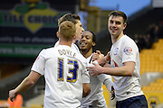 Preston North End striker goalscorer Adam Reach celebrates with team mates during the Sky Bet Championship match between Wolverhampton Wanderers and Preston North End at Molineux, Wolverhampton, England on 13 February 2016. Photo by Alan Franklin.