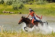 Battle of Little Bighorn Reenactment, Crow Indian Reservation, Little Bighorn River, Warriors defeat Custer and 7th Calvary