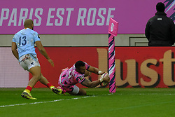 January 5, 2019 - Paris, France - Stade Francais Wing NAYACALEVU WAISEA score the second try of his team during the French rugby championship Top 14 match between Stade Francais and  Perpignan  at Jean Bouin Stadium in Paris - France..Stade Franais won 27-8 (Credit Image: © Pierre Stevenin/ZUMA Wire)