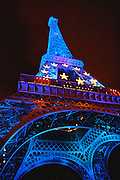 Eiffel Tower Illuminated Blue In Recognition of the 2008 French Presidency of the European Union