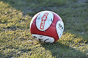 The match ball during the Evo-Stik Premier League match between Glossop North End and Scarborough Athletic at the Arthur Goldthorpe Stadium, Glossop, United Kingdom on 26 November 2016. Photo by Mark Pollitt.
