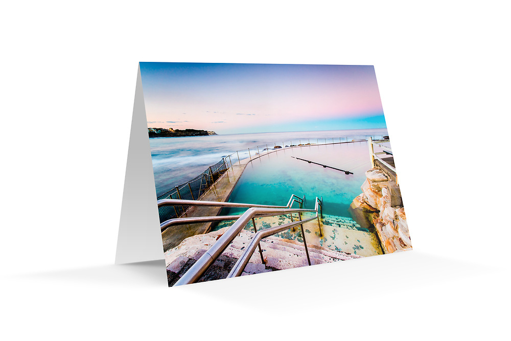 """Photo Art Greeting Card - Sydney Coastal Collection (Bronte Baths). Printed in Sydney on quality matte card stock, 174 x 123mm, blank inside, envelope included, packaged in sealed poly bag. Click """"Add to Cart"""" to choose your own mix of 5, 10, or 20 cards from this collection."""