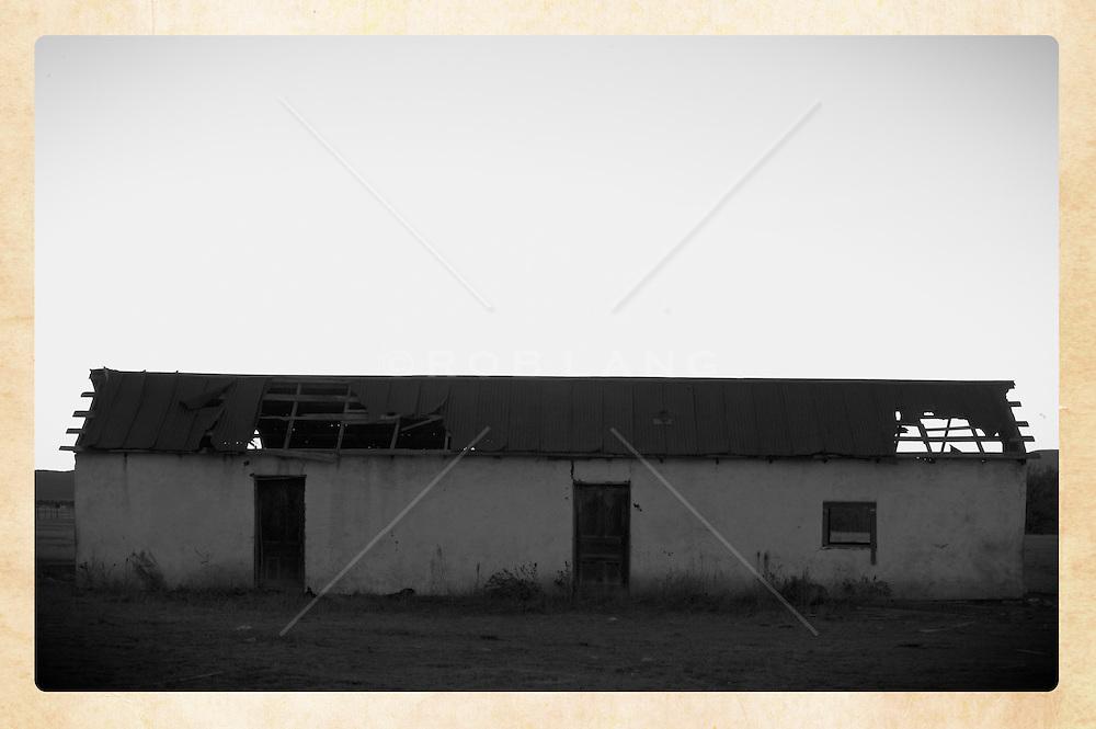 adobe barn in rural New Mexico