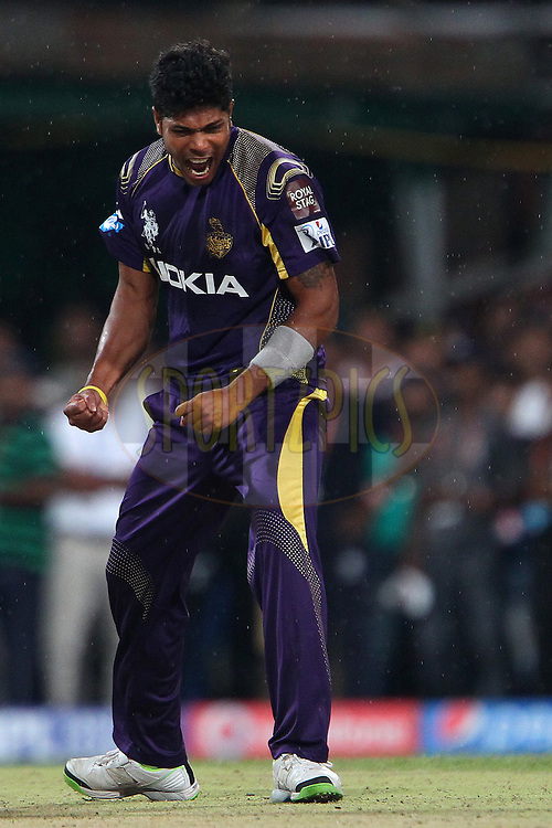 Umesh Yadav of the Kolkata Knight Riders celebrates the wicket of Glenn Maxwell of the Kings X1 Punjab during the first qualifier match (QF1) of the Pepsi Indian Premier League Season 2014 between the Kings XI Punjab and the Kolkata Knight Riders held at the Eden Gardens Cricket Stadium, Kolkata, India on the 28th May  2014<br /> <br /> Photo by Ron Gaunt / IPL / SPORTZPICS<br /> <br /> <br /> <br /> Image use subject to terms and conditions which can be found here:  http://sportzpics.photoshelter.com/gallery/Pepsi-IPL-Image-terms-and-conditions/G00004VW1IVJ.gB0/C0000TScjhBM6ikg