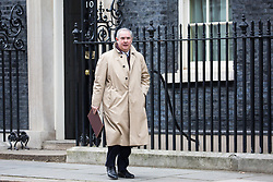 London, UK. 29th January, 2019. Geoffrey Cox QC MP, Attorney General, leaves 10 Downing Street following a Cabinet meeting on the day of votes in the House of Commons on amendments to Prime Minister Theresa May's final Brexit withdrawal agreement which could determine the content of the next stage of negotiations with the European Union.